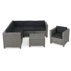 Calliope 7 Piece Sectional Set with Cushions Fabric: Mixed Black