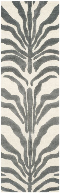 Roloff Ivory & Dark Gray Area Rug Rug Size: Runner 2'6