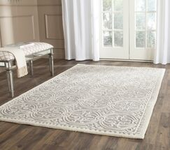 Landen Hand-Tufted Silver/Ivory Area Rug Rug Size: Rectangle 11'6