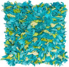 Chindi Shaggy Throw Pillow Color: Blue / Green