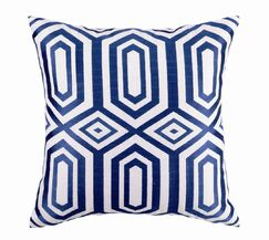 Hotel Soho Embroidered Linen Throw Pillow Color: Blue