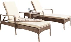 Key Biscayne Sun Lounger Set with Cushions and Table Color: Regency Sand