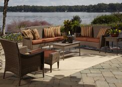 Key Biscayne 5 Piece Sofa Seating Group with Cushions Fabric: Dolce Oasis