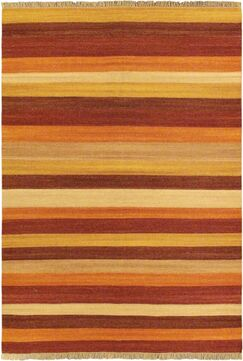 Fiesta Dark Orange Striped Area Rug