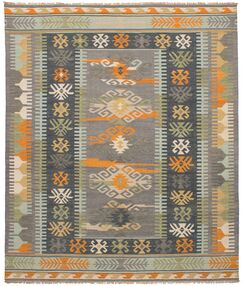Pavlatka Kilim Hand-Woven Wool Gray/Orange Area Rug