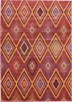 Dyann Diamond Red Abstract Area Rug Rug Size: 5'5