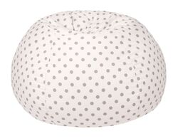 Polka Dot Bean Bag Chair Upholstery: White/Gray