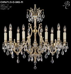Chateau 12-Light Candle Style Chandelier Crystal: Precision Crystal French Pendaloque Clear, Finish: Polished Brass with Umber Inlay