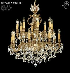 Rosetta 16-Light Candle Style Chandelier Crystal: Precision Crystal Oval Clear, Finish: Palace Bronze