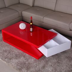 Glossy Functional Coffee Table with Storage Color: Red / White