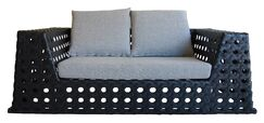 Happy Hour Loveseat with Cushions Color: Grey and White