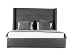 Hansen Upholstered Panel Bed Color: Charcoal, Size: High Height King