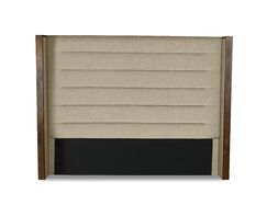 Hank Horizontal Channel Tufting Upholstered Wingback Headboard Size: Mid Height Queen, Color: Sand