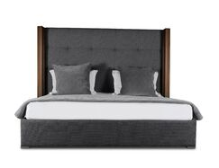 Harborcreek Button Tufted Upholstered Platform Bed Color: Charcoal, Size: High Height California King