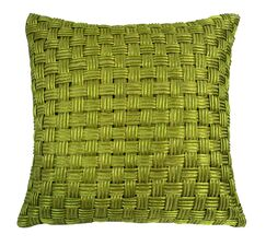 Denker Basket Weave Cord Throw Pillow Color: Lime