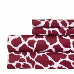 Animal Print Super Soft Sheet Set Color: Red, Size: Queen