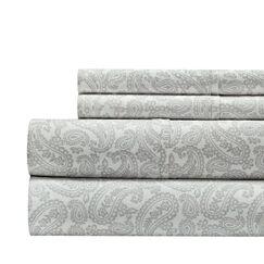 Agueda Paisley Print 300 Thread Count 100% Cotton 4 Piece Sheet Set Color: Gray, Size: Queen