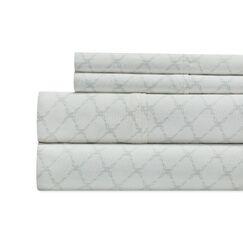 Alfonso Lattice Print 300 Thread Count 100% Cotton 4 Piece Sheet Set Size: Full, Color: Gray