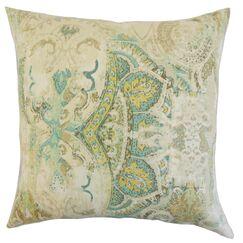 Havilah Floral Linen Throw Pillow Color: Seahorse, Size: 18