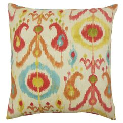 IKEA® Ikat Cotton Throw Pillow Color: Papaya, Size: 22