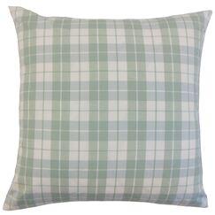 Joss Plaid Cotton Throw Pillow Color: Aqua, Size: 24