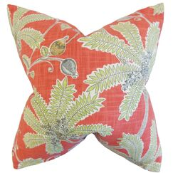 Yahor Foliage Cotton Throw Pillow Size: 18