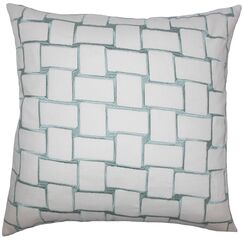 Kalyca Geometric Bedding Sham Size: Queen, Color: Aqua