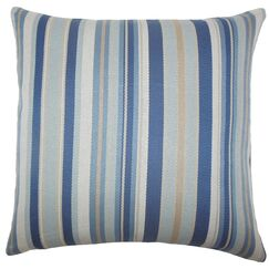 Urbaine Striped Burlap Throw Pillow Color: Blue Brown, Size: 22