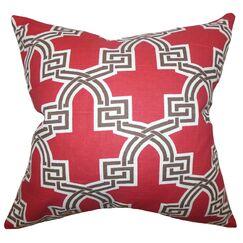 Mahesh Geometric Floor Pillow Color: Red