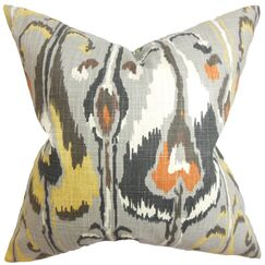Dolson Ikat Floor Pillow Color: Gray