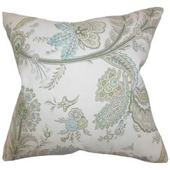 Dilys Floral Linen Throw Pillow Cover Color: Green