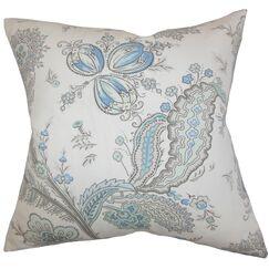 Dilys Floral Throw Pillow Color: Blue, Size: 20