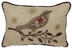 Bird on Twig Emboridery Lumbar Pillow