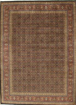 Tabriz Hand Knotted Wool Navy/Rust Area Rug Rug Size: Square 6'