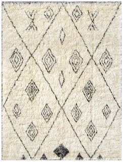 Moroccan Hand-Knotted Ivory Area Rug Rug Size: Rectangle 7'10