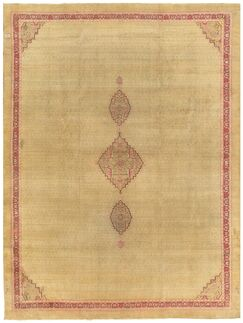 Amritsar Antique Hand Knotted Wool Camel/Burgundy Area Rug