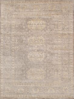 Oushak Hand-Knotted Silk Toupe Area Rug Rug Size: Rectangle 10' x 14'