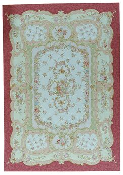 One-of-a-Kind Aubusson Hand-Woven Wool Red/Green Area Rug Rug Size: Rectangle 8'9