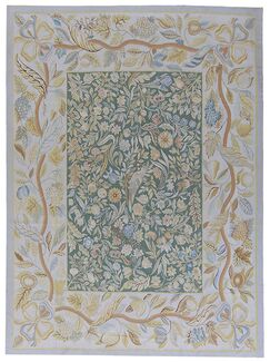 Aubusson Hand-Woven Wool Blue/Green Area Rug Rug Size: Rectangle 10'10