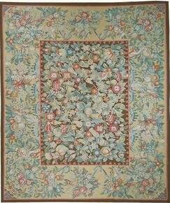 One-of-a-Kind Aubusson Hand Woven Wool Green/Beige Area Rug Rug Size: Rectangle 12'4