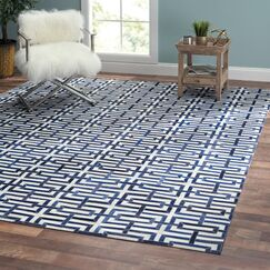 Cowhide and Hand-Loomed Silver/Navy Area Rug Rug Size: Rectangle 8' x 10'