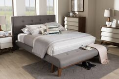 Serena Fabric Upholstered Platform Bed Color: Gray, Size: Queen