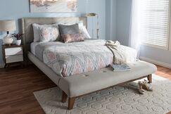 Serena Fabric Upholstered Platform Bed Size: Full, Color: Light Beige