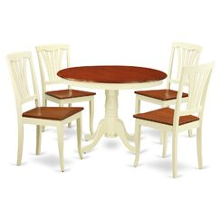 Hartland 5 Piece Dining Set Table Base Color: Buttermilk, Table Top Color: Cherry