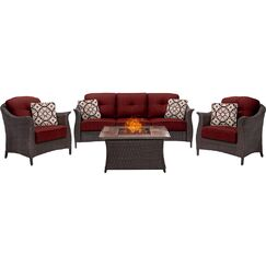 Daigle 4 Piece Sunbrella Sofa Set with Sunbrella Cushions Fabric: Red