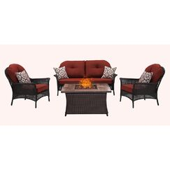 Kinnison 4 Piece Sofa Set with Cushions Fabric: Red
