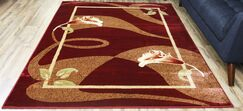 Passion Red/Cream Area Rug Rug Size: Rectangle 7'10