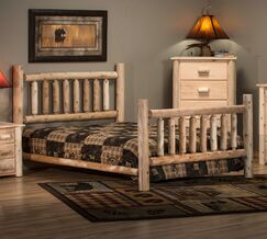 Timber Log Panel Bed Color: Unfinished, Size: Queen
