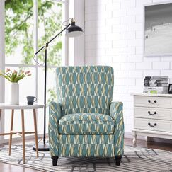 Push Back Stain Glass Fabric Recliner Upholstery: Teal