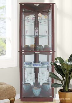 Randalstown Lighted Corner Curio Cabinet Color: Walnut